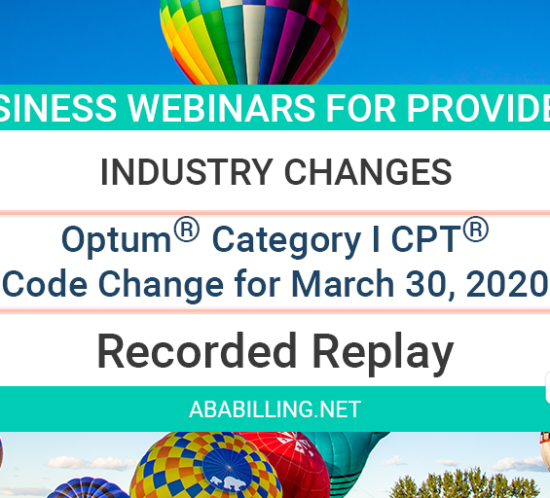 Webinar: Optum® Category I CPT® Code Change March 30, 2020